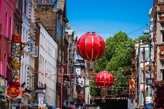 red lanterns in chinatown London during chinese new year