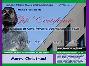gift certificate private course or tour - statue in more london