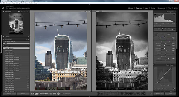 screenshot of adobe lightroom showing image editing in progress