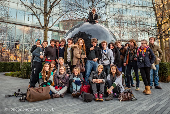educational photography tour Gresham school group in more London
