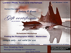 photography masterclass gift certificate image of leaf on water -