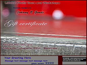 gift voucher for private photography masterclass photo in red and grey