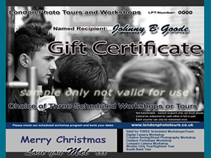 black and white photography gift cetificate