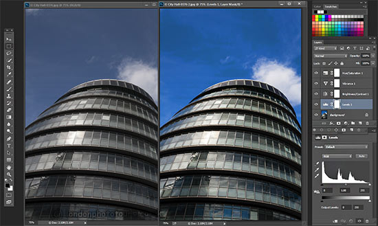 adobe photoshop editing example showing two views of City Hall london