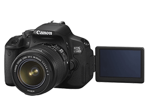 eos 650D camera with teh LCD opened and pointing forward