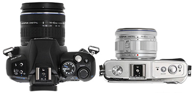 comparison of size in a DSLR and a Compact system camera