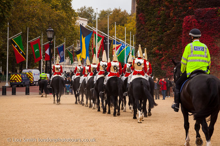 The outgoing Lifeguards leave Horseguards Parade