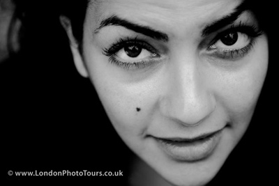 black and white  Outdoor portrait photography - shot of student by london photo tours tutor
