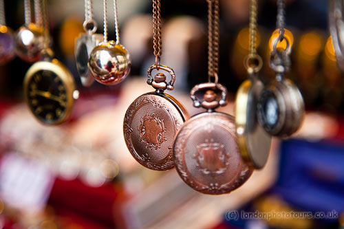 compact camera creative course in London- close-up shots of a market stall including jewellery