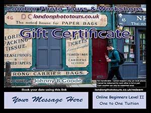 gift voucher online photography beginners level2